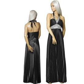 ポイント16倍 キャバ ドレス パーティー 結婚式 ロング Aライン プリーツ サテン レッド ブラック Mサイズ