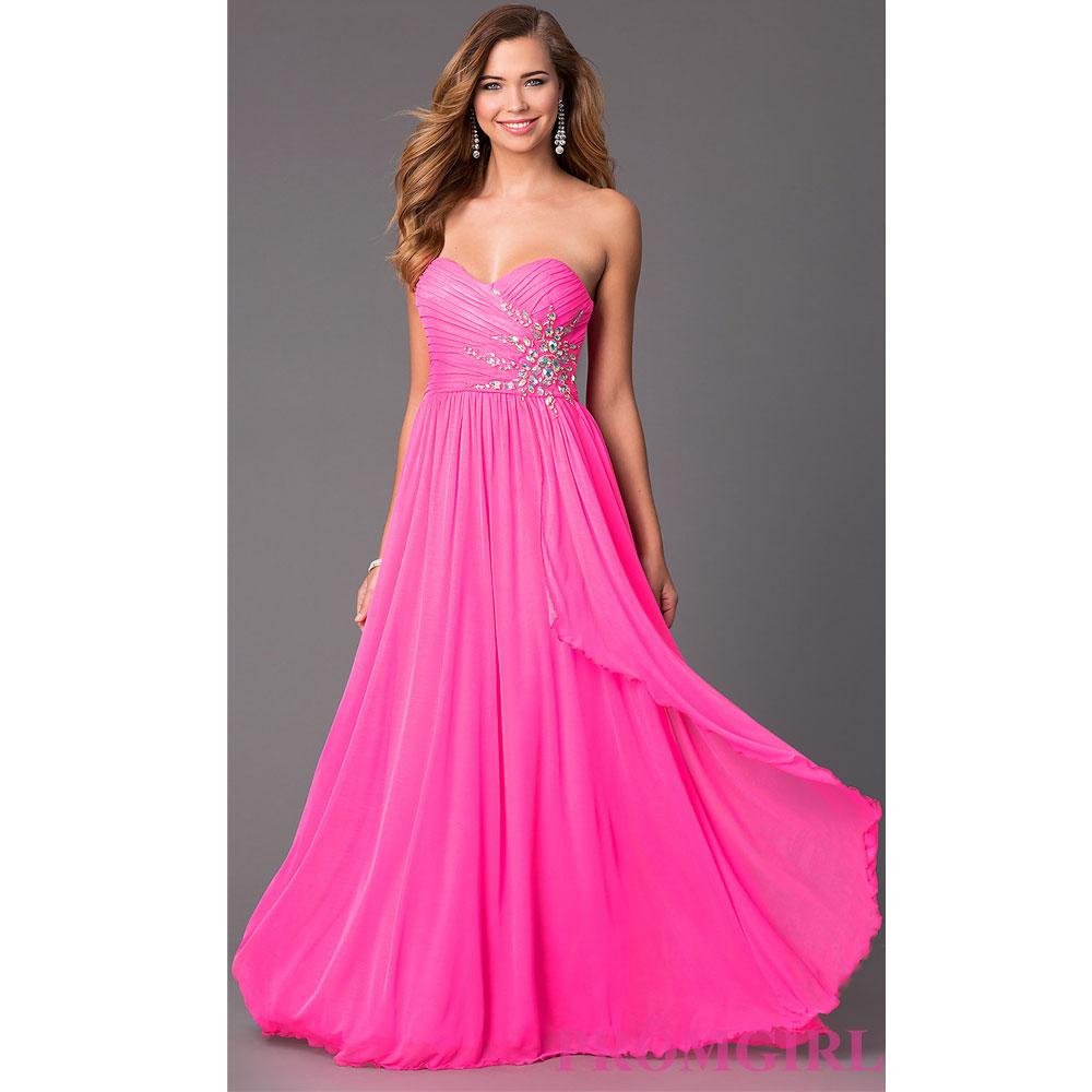ポイント16倍 ドレス ベアドレス パーティー フォーマル Aライン ロング丈 発表会 アメリカ輸入 ストレッチ 大きいサイズあり ネオンピンク