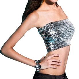 ポイント16倍 スパンコール ダンス衣装 チューブトップ ベアトップ ショート丈