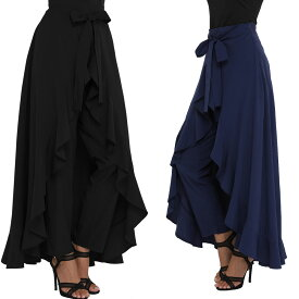 セール パンツ スカートつき フリル ゆったり Sサイズ Mサイズ ネイビー ブラック 送料無料