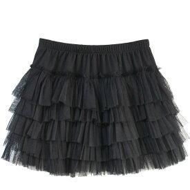 スカート ティアード フリル ミニスカート メッシュ素材 ホワイト ブラック Mサイズ