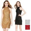 セール スパンコール ダンス 衣装 ワンピース ドレス 裏地つき ゴールド シルバー レッド ブラック