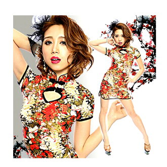 Dress short length short sleeves pattern sum pattern stretch medium size multicolored with point 16 times qipao slit