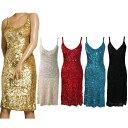 ポイント16倍 ダンス衣装 スパンコール ワンピース ドレス ひざ丈 フリーサイズ