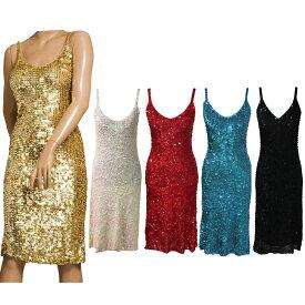 f690105a73b73 ポイント16倍 ダンス衣装 スパンコール ワンピース ドレス ひざ丈 フリーサイズ