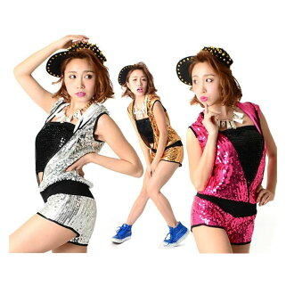 Sequined hip hop dance costume pants shorts all-in-one jumpsuit overalls one-piece sleeveless hood cosplay uniform gold silver red pink black size