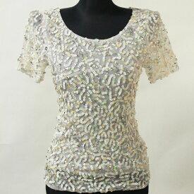 ポイント16倍 ネコポス ダンス衣装 スパンコール 半袖 トップ メッシュ ホワイト Mサイズ