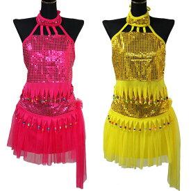 ポイント16倍 セール スパンコール ダンス 衣装 2点セット トップ スカート ピンク イエロー 送料無料