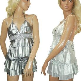 ポイント16倍 ダンス 衣装 2点セット トップス スカート メタリック ストレッチ シルバー ライトシルバー フリーサイズ 送料無料