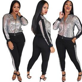 クリスマス スパンコール ダンス衣装 トラックスーツ 2点セット トップス パンツ Sサイズ Mサイズ Lサイズ シルバー 送料無料