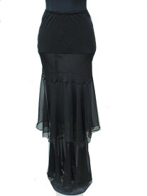 マーメイドライン スカート ロング シルク ブラック フリーサイズ