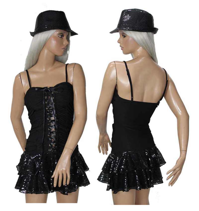 ポイント16倍 ダンス衣装 スパンコール ワンピース・ハット 2点セット 7号から9号