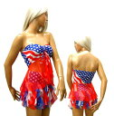 ポイント16倍 ダンス 衣装 ヒップホップ チアガール アメリカ国旗柄 星条旗 柄 トップス スカート 2点セット