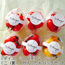 トマト ミニトマト 新鮮 父の日 父の日プレゼント 条件付き送料無料 贈り物にぴったり!トリアンジュトマトお得な6パックセットスイーツのようなパックセットです。ミディ3パック、ミニ(赤)2パック、ミニ(黄)1パック