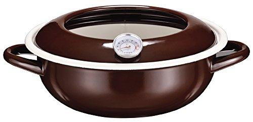 パール金属 ジーヴォ ホーロー 温度計付 天ぷら鍋 23cm ブラウン HB-1720
