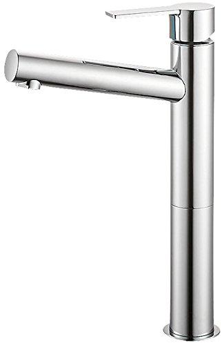 三栄水栓 【洗面用 寒冷地仕様】 シングルワンホール洗面混合栓 ロング ポップアップ無し ゴム栓無し