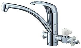 三栄水栓 キッチン用 シングルワンホール分岐混合栓 分岐金具付 上面施工
