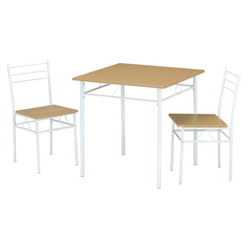 DSP-75(NA)/シンプル ダイニングテーブル 3点セット 幅75cmダイニングセット ダイニングチェア テーブル ダイニング 椅子 2人用 二人用 レトロ アンティーク風 モダン おしゃれ スチール ナチュラル ベージュ ★ ダイニング3点セット / DSP-75-NA ★