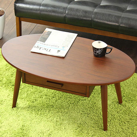 テーブル クライス kreis wt-26 テーブル 木製 幅80 ローテーブル センターテーブル コーヒーテーブル リビングテーブル ウォールナット 引き出し 収納 おしゃれ かわいい 北欧 オーバル 楕円 岩附 iwatsuki