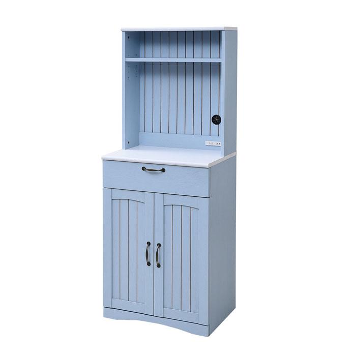 jkプラン フレンチカントリー家具 幅60 フレンチスタイル ブルー&ホワイト 食器棚 高さ 160 コンセント付き 引き出し 扉付き収納 キッチン収納 姫 木製 シャビーシック フレンチアンティーク フレンチインテリア FFC-0006-BL