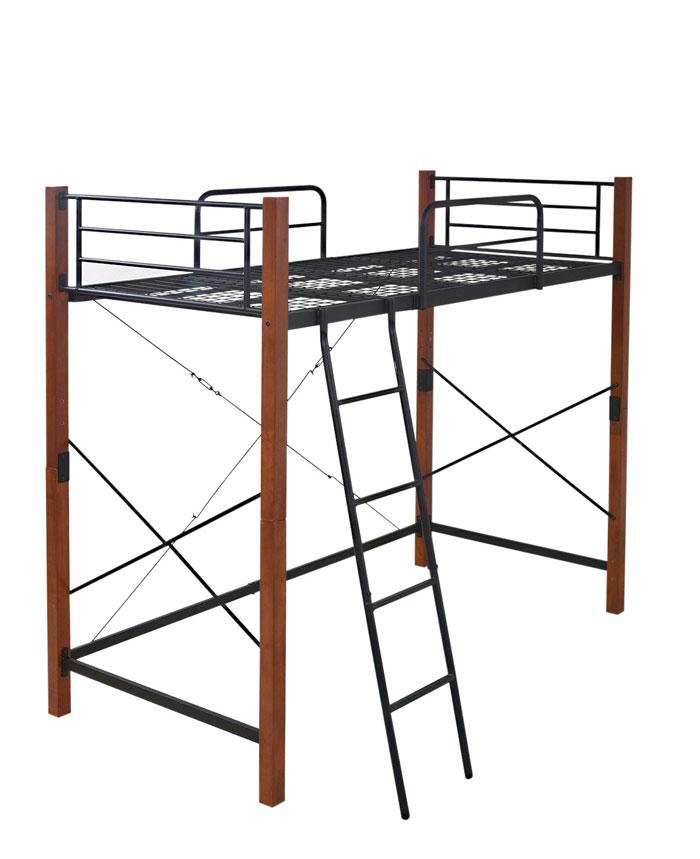 jkプラン ロフトベッド 天然木脚 シングル 高さ調節 可能 パイプベッド タイプ 頑丈 丈夫 183 長さ 209 木製式ベッド 有効活用 新生活 インテリア 極太 IRI-1043SET-BKBR