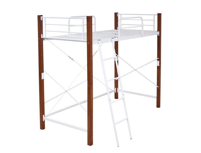 jkプラン ロフトベッド 天然木脚 シングル 高さ調節 可能 パイプベッド タイプ 頑丈 丈夫 183 長さ 209 木製式ベッド 有効活用 新生活 インテリア 極太 IRI-1043SET-WHBR