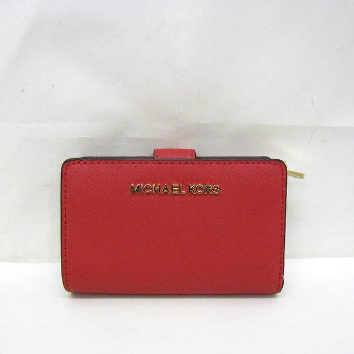 34fe53becb47 MICHAELKORSマイケルコース二つ折り財布ウォレット35F7GTVF2LレザーLIPSTICKピンクゴールド小銭入れありレディース