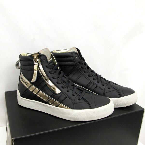 中古 DIESEL ディーゼル スニーカー ブラック プラチナム D,STRING PLUS W ハイカット 紐靴 USA6 23cm レディース 靴  シューズ black platinum Y01286 P0894 H5946