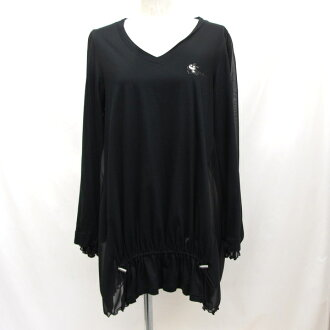 832317 Higashiosaka shop made in olleborebla Al vero vero tops see-through long sleeves black tops Japan