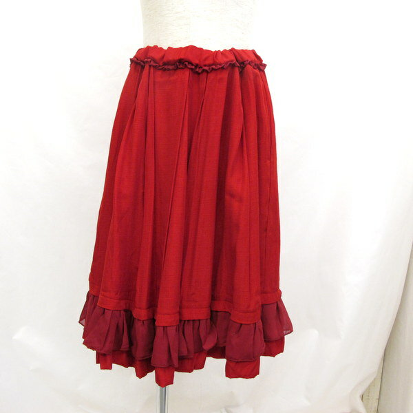 AS KNOW AS スカート フリル レッド 赤 ニュアンスギャザSK ギャザー フリーサイズ DE0461 ナイロン レディース タグ付き ウエスト紐 東大阪店 【Aランク】