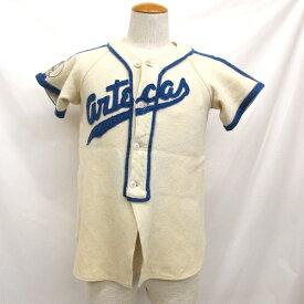 Deportes PINEDO ベースボールシャツ ヴィンテージ 50's 60's ボタンシャツ 半袖 サイズ36 メンズ レディース ジュニア 約Sサイズ相当 トップス オフホワイト ブルー 東大阪店 【中古】