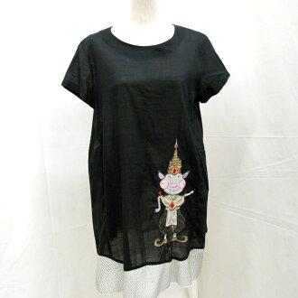 ALBEROBELLO Al vero vero OLLEBOREBLA オレボレブラチュニックトップスワンピース short sleeves black embroidery skirt Lady's 615456 Higashiosaka store