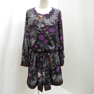 ALBEROBELLO Al vero vero OLLEBOREBLA オレボレブラワンピースチュニック long sleeves black purple floral design Lady's 415004 Higashiosaka store