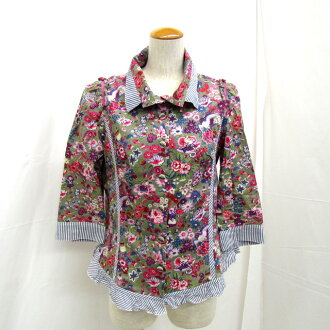 ALBEROBELLO Al vero vero OLLEBOREBLA オレボレブラシャツ seven minutes length frill stripe floral design multicolored 716097 Lady's MADE IN JAPAN Higashiosaka shop