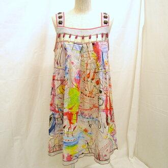 Tops thin Higashiosaka shop made in ALBEROBELLO Al vero vero OLLEBOREBLA tunic dress multicolored studs candle graffiti whole pattern pig Lady's Japan