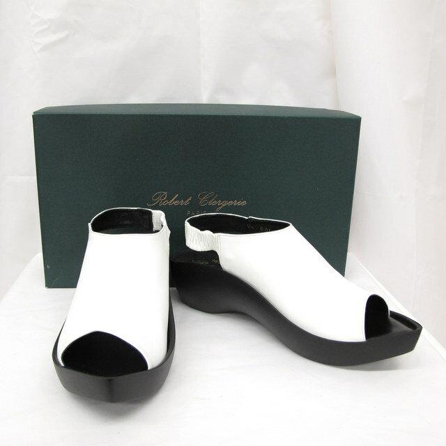 ISSEY MIYAKE イッセイ ミヤケ サンダル ホワイト ブラック 箱付き くつ 靴 レザー フランス製 レディース サイズ51/2 東大阪店【USED】