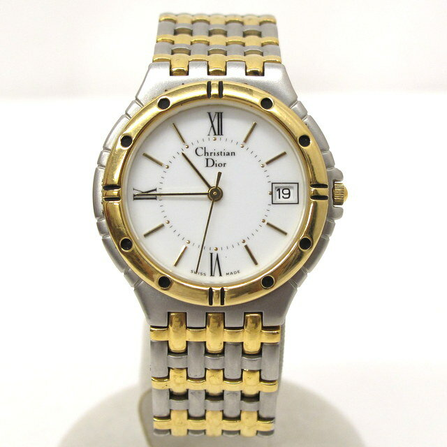 Christian Dior クリスチャン ディオール 腕時計 3023 SWISS スイス ラウンドフェイス シルバー ゴールド デイト アナログ クォーツ 3針 ボーイズ 33mm メンズ レディース 東大阪店 253267【USED】
