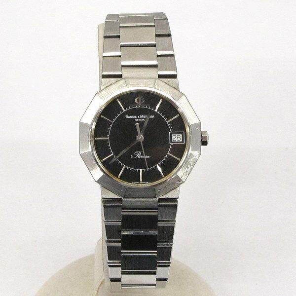 BAUME&MERCIER ボーム&メルシエ リビエラ RIVIERA 腕時計 シルバー ブラック デイト クォーツ メンズ SWISS MADE 東大阪店 190760【USED】