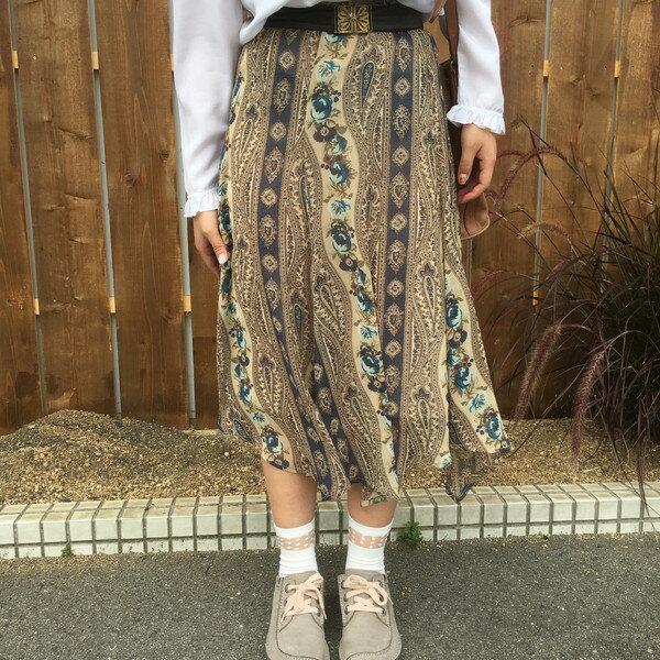 Ethnic Lace Medium Skirt スカート ボトムス ひざ丈 花柄 ロング丈 エスニック柄 ベージュ 日本製 レディース 古着女子 CHER 古着屋NEXT貝塚店【USED】RK348M