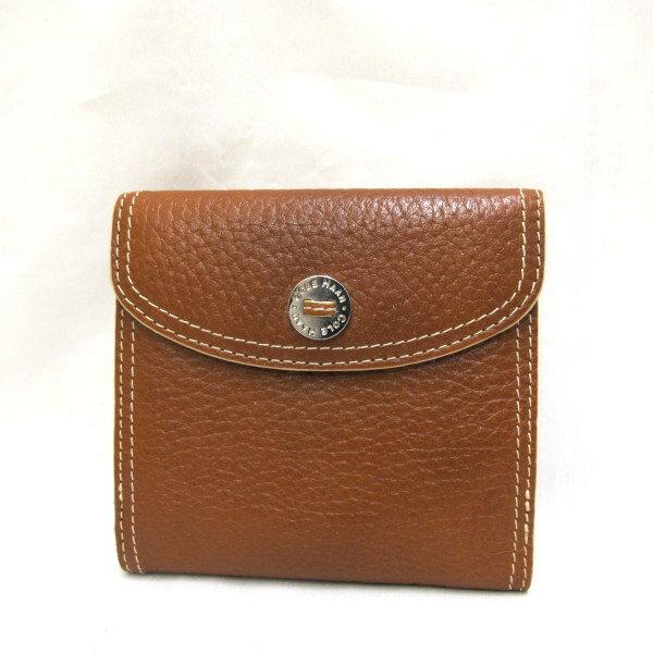 COLEHAAN コールハーン Wホック 二つ折り財布 財布 二つ折 ホック ブラウン レザー メンズ レディース【Aランク】