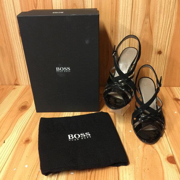 HUGO BOSS ヒューゴ・ボス サンダル ヒール 靴 エナメル スウェード EU37 23.5cm イタリア製 古着屋NEXT貝塚店【USED】RK8941
