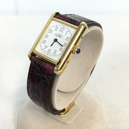 Cartier Cartier Must Tank Watch 2415 Watch Vermeil Gold Plated 925 Gold Ladies Quartz Blanc