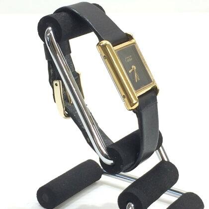 Cartierカルティエマストタンク腕時計VINTAGEヴィンテージ黒文字盤アナログOH済レザーブラックゴールドレディー