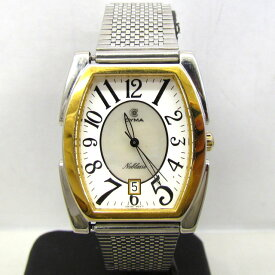 CYMA シーマ 腕時計 シルバー ゴールド アナログ デイト 樽型 トノー型 3針 クォーツ メンズ ウォッチ 東大阪店 344866【中古】 RY1773