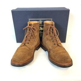 Tricker's Trickers トリッカーズ MENS SNUFF REPELLO BROGUE BOOT M7308 カントリー ウィングチップブローグブーツ スエード ブラウン brown 茶 メンズ SIZE8 FITTING5 (約26.5cm) 英国 靴 クツ くつ シューズ イングランド製 貝塚店 851458 【中古】 RK1471G