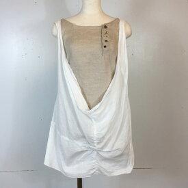 KAPITAL キャピタル Single gauze×Thin linen drape camisole K84SS11 08SS 2008年 夏 ドレープキャミソール タンクトップ ホワイト×ベージュ レディース 0/XS 日本製 貝塚店 343373 【中古】 RK1705G