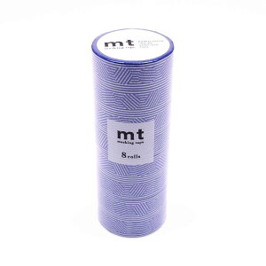 ●【送料無料】mt マスキングテープ 8P ボーダー&サークル・ブルー MT08D437「他の商品と同梱不可/北海道、沖縄、離島別途送料」