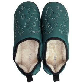 ●【送料無料】Boa slippers(ボアスリッパ) ダウンスリッパ グリーン Lサイズ(25-27cm) 72177「他の商品と同梱不可/北海道、沖縄、離島別途送料」