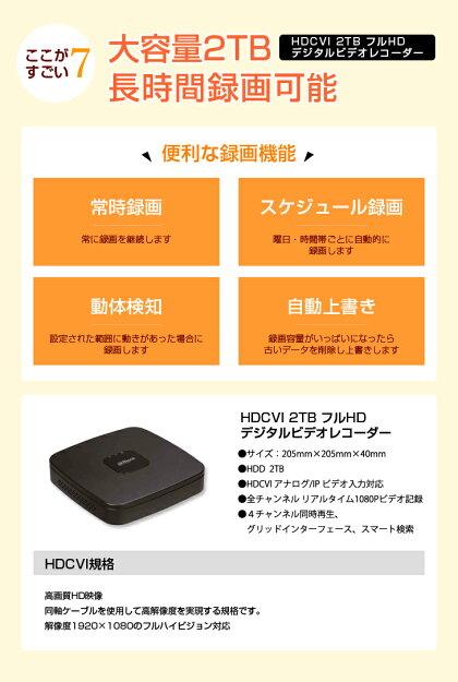 高画質210万画素カメラ4台+大容量HDDレコーダー1台セット(ドーム型、バレット型の最適なカメラを選べます)