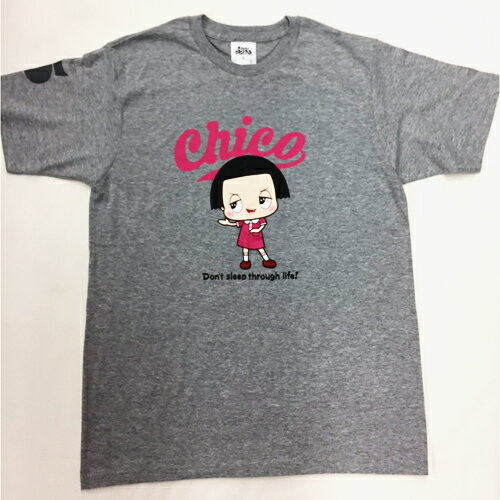 チコちゃん Tシャツ Lグレーピンク ロゴ